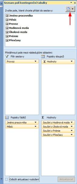 Změna uspořádání podokna kontingenční tabulky.