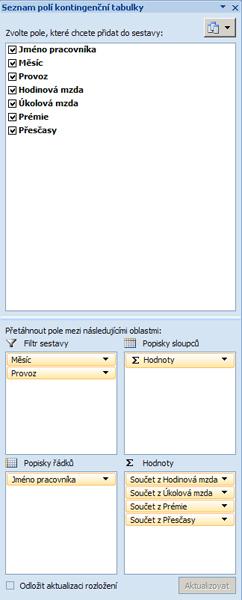Uspořádání polí v kontingenční tabulce.